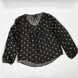 Lucky Brand Black Gold Textured Peasant Blouse Lrg